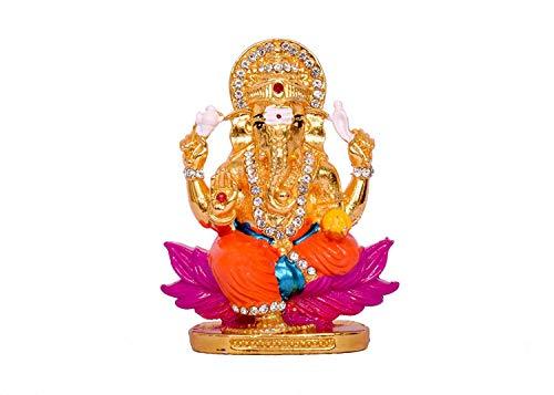 - RUDRA DIVINE Lord Ganesh Golden Figure/Idol 8 x 10 cm for car/American Diamond Stone Worked Car Dashboard/Home/Office Item