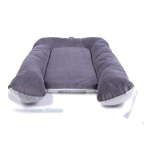 Gray Leaves LOAOL Baby Lounger Newborn Co Sleeping Bassinet Reversible Infant Portable Snuggle Nest Bed