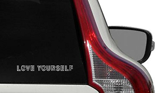 BTS Text Love Yourself Version 1 Car Die Cut Vinyl Decal Bumper Sticker for Car Truck Auto Windshield Wall Window Ipad Tablet Macbook Laptop Computer Home Custom and More ()