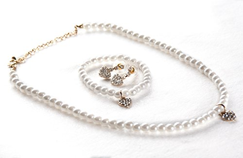 Flowers Gold Jewelry Set - STStory USA Acrylic Pearl Jewelry Set [Necklace, Bracelet, Earrings][Heart/Gold] for Girls