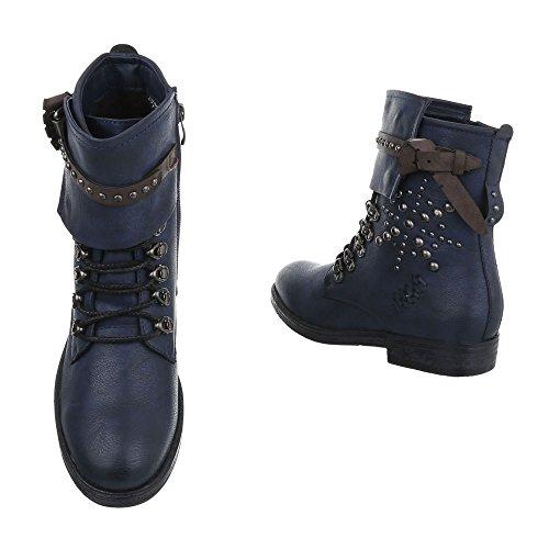 Women's Boots Block Heel Cowboy & Biker Ankle Boots at Ital-Design Dark Blue bl7a38oem