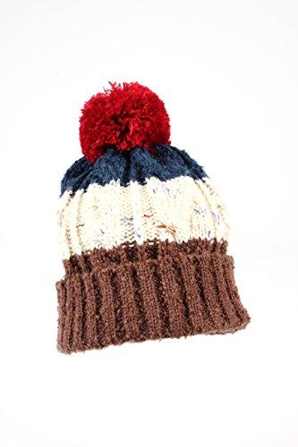 WITHMOONS SG181 Plain Basic Bobble Beanie Pom Twisted Knit Hat ()