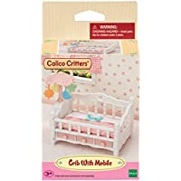 Calico Critters Crib with Mobile, Dollhouse Furniture Set with Working Features