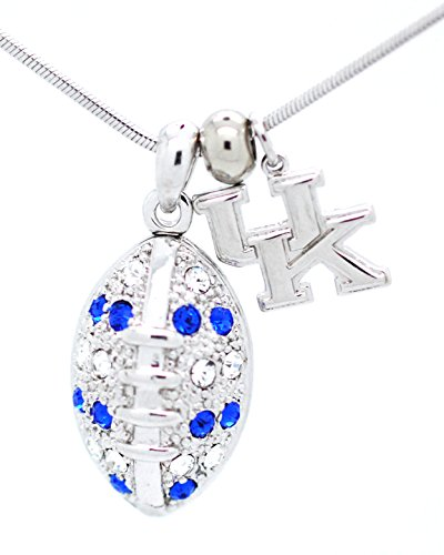 Kentucky Football Necklace - Large - Blue and Clear Crystals - WILDCATS
