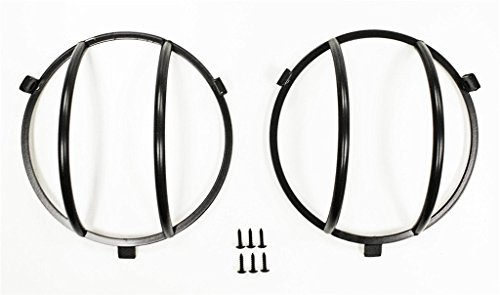 DIYTUNINGS Black Stainless Steel Headlight Euro Guard Pair for Jeep Wrangler JK JKU Unlimited Rubicon Sahara Sport Exterior Accessories Parts 2007 2008 2009 2010 2011 2012 2013 2014 2015 2016 2017