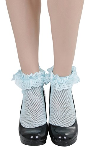 ToBeInStyle Women's Fishnet Anklet With Ruffle Trim - BABY BLUE - OSR ()