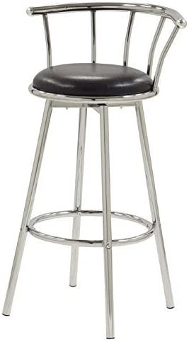 Coaster CO-2244 Bar Stool, Set Of 2, Black and Chrome