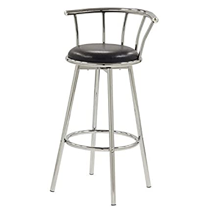 Phenomenal Cleveland Bar Stools With Upholstered Seat Chrome And Black Set Of 2 Creativecarmelina Interior Chair Design Creativecarmelinacom