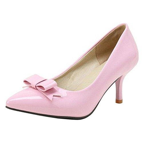 COOLCEPT Mujer Moda Fiesta Vestido Tacon de Aguja Tacon Medio Bombas Zapatos Boda Boca Baja Zapatos con Bowknot Rosado