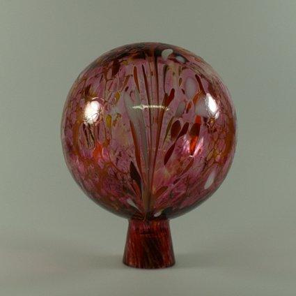Decorative Garden Ball with Granule Ruby Red D 15cm, mouth-blown Handmade Original Lauscha Glass Lauschaer Glas 13GK15_06