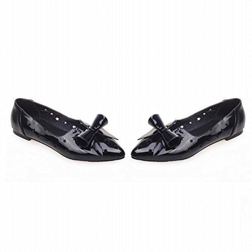 Carolbar Kvinna Spetsig Tå Söta Rosetter Söta Chic Elegans Borrat Stjärnformad Ihåliga Ut Klänning Flats Shoes Svarta