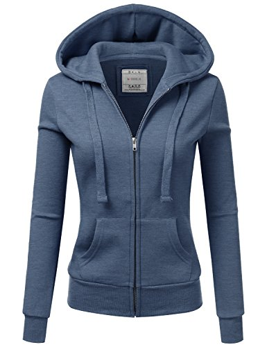 a2612bfe506f7 Doublju Lightweight Thin Zip-Up Hoodie Jacket for Women with Plus Size  Denim Large