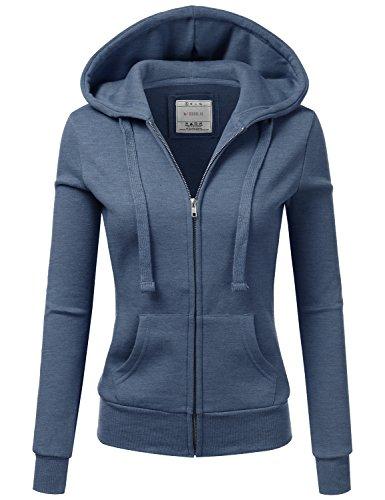 Doublju Lightweight Thin Zip-Up Hoodie Jacket for Women with