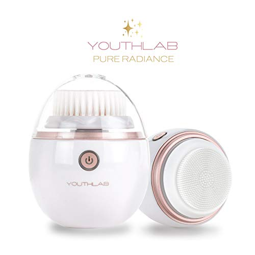 YOUTHLAB Pure Radiance Sonic Facial Cleansing Brush, Vibrating, 3 Modes, 3 Brush Heads (2 Bristle,1 Silicone), Waterproof, Rechargeable, Smart Timer, Exfoliate, Massage, Acne, Black Heads