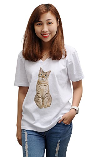 Bengal Cat Print 100% Cotton V-Neck Short Sleeves Loose Top Tee Shirt WTS_16 2XL