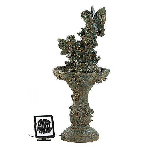 Outdoor Water Fountain, Antique Decorative Garden Fairy Solar Water Fountains by Cascading Fountains