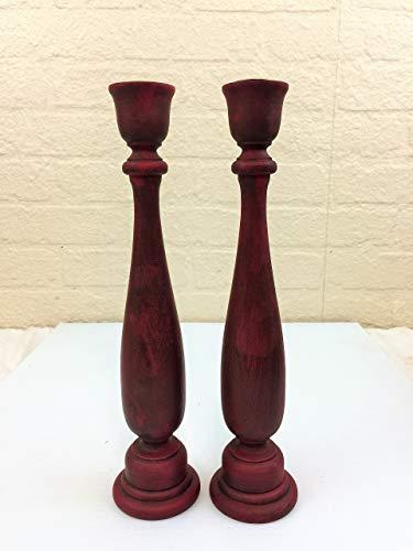 Set of 2 Distressed Burgandy Wood Taper Candle Sticks