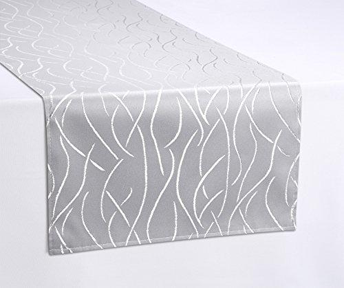 Tischläufer, FARBE und GRÖßE wählbar, Streifen Tischband, eckig 30x100 cm, Silber, Beautex