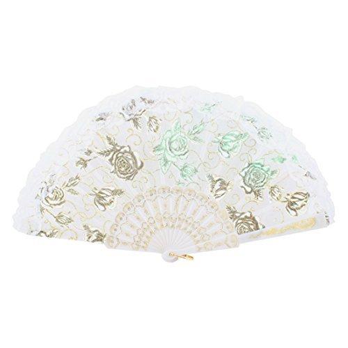 eDealMax U Bague Glitter Rose Imprimer Tradition Main chinoise Fan pliant Blanc
