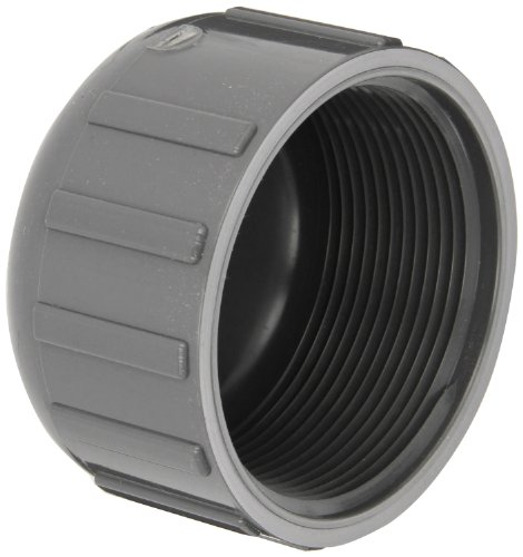 """Spears 448-G Series PVC Pipe Fitting, Cap, Schedule 40, Gray, 1-1/2"""" NPT Female"""