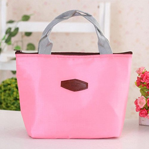 Lunch Bag, Franterd Waterproof Portable Food Storage Box Tote Insulated Picnic bags (Pink)