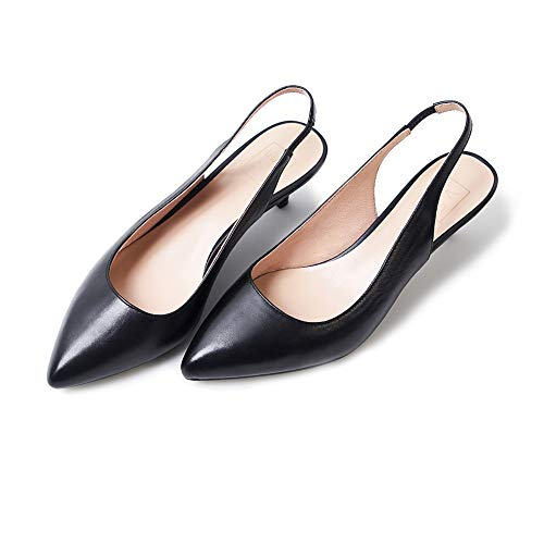 (velucchi Women's Genuine Leather Slingback Kitten Heels Dress Pumps Shoes Black)
