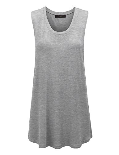 Grey Tank Top Ribbed Tank Jersey - MBJ WT1100 Womens Basic Wide Armhole Loose Fit Drapey Muscle Tank Top L HEATHER_GREY
