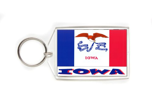 Souvenir Iowa State Flag Double Sided Acrylic Key Ring Large Stocking Stuffer