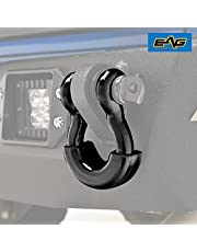 EAG 3/4 inch Black D-Ring Shackles 4.75 Ton Capacity with 7/8 inch Diameter Pin and Black Isolator Washer Kits 1 Pair