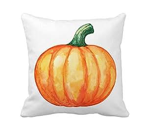 Pumpkin Halloween Fall Home Decor Throw Pillow Cover Cotton Polyester Cusion Cover 18 x 18 Inches