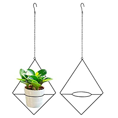 Vencer 2Pack Metal Flower Pot Holder Plant Hanger Modern Rhombic Hanging Planter, Black, VF-0132B : Garden & Outdoor