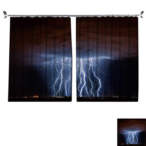 PRUNUS Room Darkening Curtain with Hooked Tucson lightn Composite Thermal Insulated Blackout Window Curtain,W55 xL45 ()
