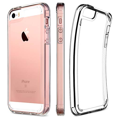 iPhone SE Case, UARMOR Transparent Crystal Clear Premium Protective Case Hard 3H PC Back Cover Flexible TPU Bumper for Apple iPhone SE 2016 & iPhone 5 5s (Clear)