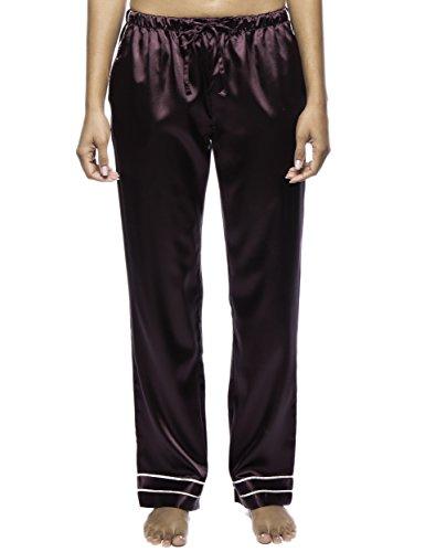 Noble Mount Women's Classic Satin Lounge Pants - Wine - XS