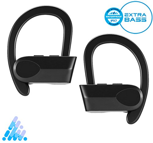 True Bluetooth Earbuds, V4.1 Wireless Bluetooth Headphones Earphones Bass-Enhanced Noise Cancelling Headphones with MIC - Sports, Gym, Gaming for Apple iPhone, iPad, Samsung, Android & More (Black)