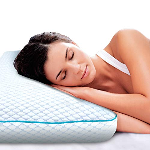 (SHARPER IMAGE Memory Foam Pillow with Cool Touch Fiber Cover, Special Cooling Technology and Medium Support Visco Elastic Core, Hypoallergenic Bamboo Charcoal Pillow, Washable Cover)