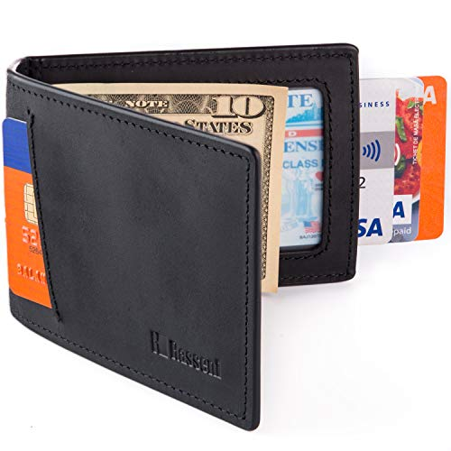 Mens Slim Leather Wallet with Money Clip Bifold Minimalist RFID Blocking Card