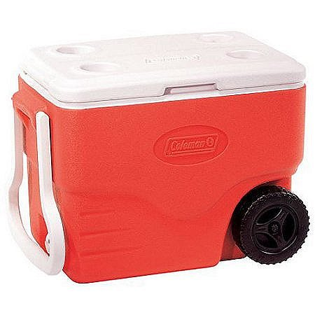 (Ice - Cooler. 40 Quart Wheeled Ice Chest. This Ice Box is The Best Way to Keep Food, Beer & Drinks Cool for Outdoor Party, Camping, Travel, Picnic, Fishing, Beach, Sports & Pool. Handled. (Red))