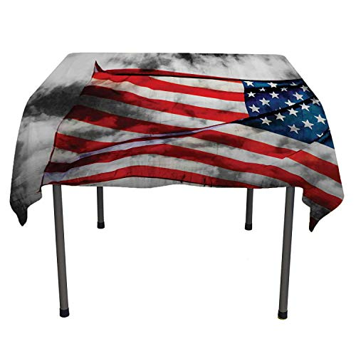 American Flag Christmas Tablecloth Banner in The Sky on Cloudy Mist Display National Symbol Proud of Heritage Grey Red Blue Tablecloth Spill Resistant Spring/Summer/Party/Picnic 60 by 60