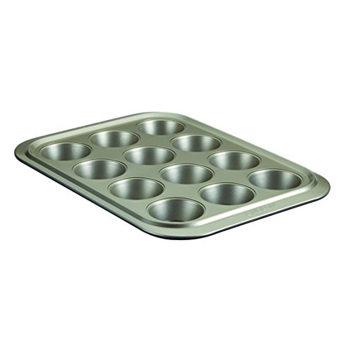 Anolon Allure Nonstick Bakeware 12-Cup Muffin Pan, Pewter/Onyx