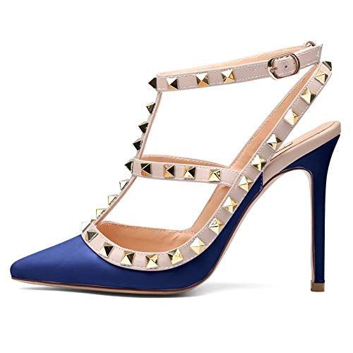 Chris-T Women Pointed Toe Studded Strappy Slingback High Heel 4 Inches Leather Pumps Stilettos Sandals Navy Blue Matte Size 7 US