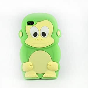 Hot 3D Cute Monkey Silicon Soft Back Cover Case Skin For Apple iphone 4 4G 4S Green