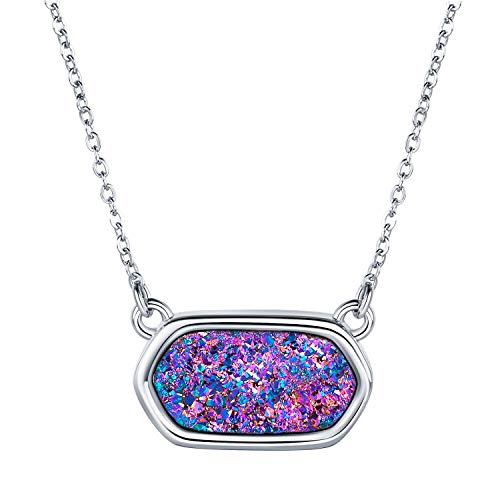 WISHMISS Women Silver Pendant Necklace in Multicolor Drusy (Purple Drusy Necklace)
