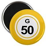 Bingo Ball G50 FIFTY Yellow 2.25 inch Fridge Magnet