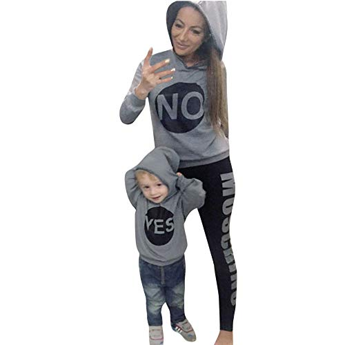 kaiCran Family Matching Mother Daughter Son Hoodie Sweatshirt Long Sleeve Letters Print Casual Sport Tops (Gray, Mom L) (Mother And Son Matching Clothes)