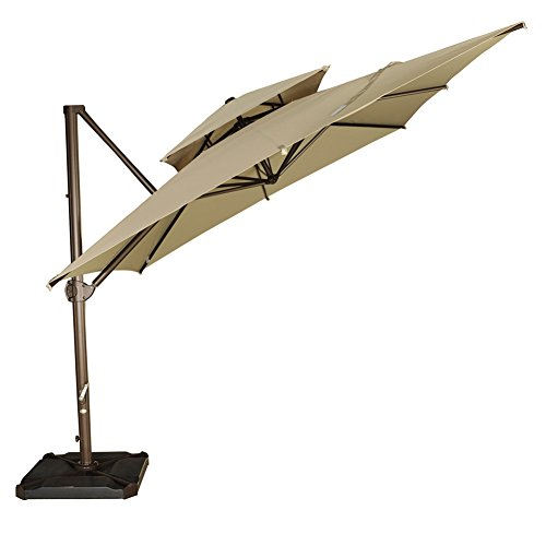 Abba Patio Offset Cantilever Umbrella Hanging Umbrella with Umbrella Cover, Dual Wind Vent and Cross Base, 9 by 9-Feet, Beige
