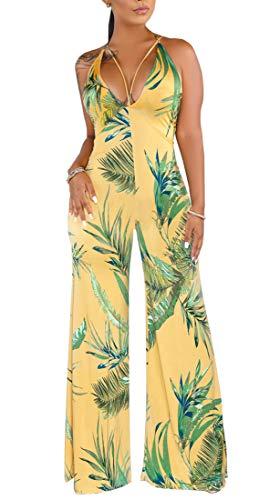 SheKiss Women's Adjustable Spaghetti Strap Floral Jumpsuits Backless Plus Size Long Pants Yellow