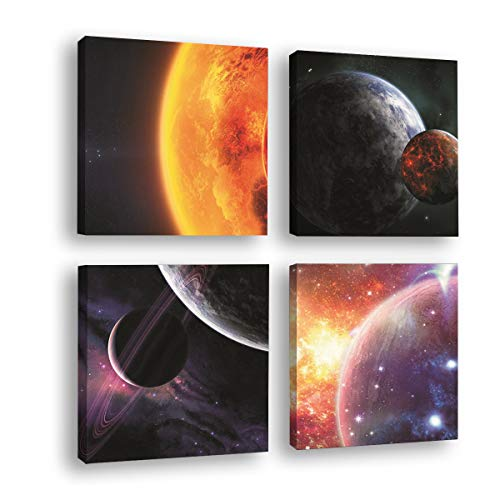 (HPNIUB Frame Outer Space Planet Art Print, Abstract Galaxy Canvas Printing with DIY Wooden Frame (4pcs,11.8X11.8inch), Universe Poster for Astronomy Lover Home Wall Art )