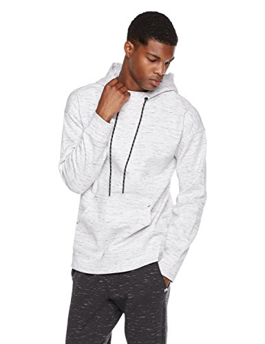 Rebel Canyon Young Men's Space Dye Athletic Tech Fleece Pullover Hoodie Top With Drop Shoulder Medium Light Grey Shoulder Fleece Sweatshirt