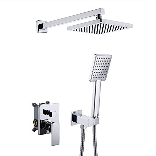KES Pressure Balancing Showering System Rough-in Body and Trim Kit Handheld and Rainfall Mixer Shower Head Combo Set Modern Square Polished Chrome, KES-XB6223-CH